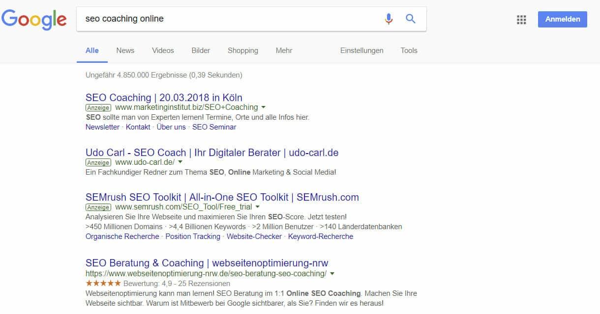 Top Ranking für SEO-Beratung Online SEO Coaching